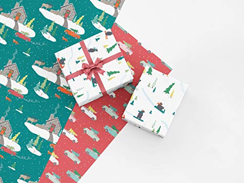 Stone Cabin Christmas Gift Wrap Collection, 9 Folded Sheets of Wrapping Paper with Stone Cabin, Elk, Vintage Trucks and Snow Bears, Easy to Store Folded Gift Wrap, Made in America by REVEL & Co ()