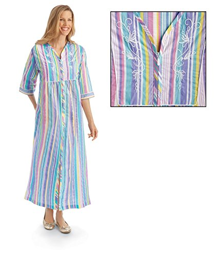 Collections Etc Women's Pastel Striped Lounger With Zip Front and 3/4