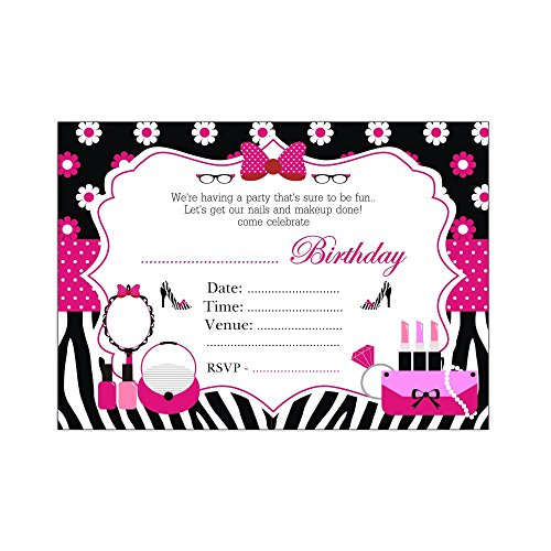 Diva Party. Glam Diva Birthday Party Invitations and Thank you Cards Set , Girls Birthday Party Supplies. Includes Invitations with matching envelopes and Thank you Cards.