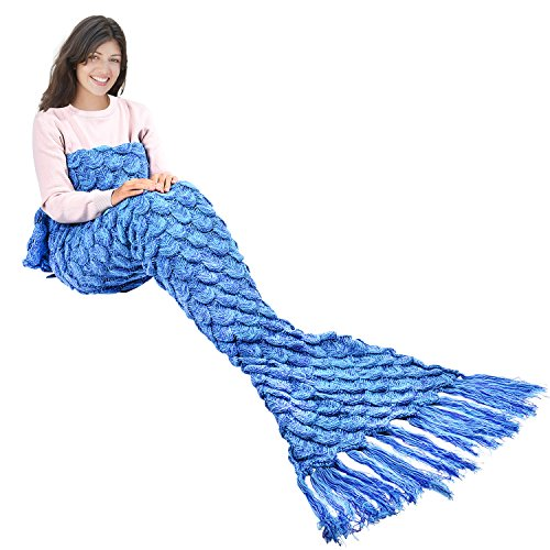 Handmade Mermaid Tail Blanket Crochet , Ibaby888 All Seasons Warm Knitted Bed Blanket Sofa Quilt Living Room Sleeping Bag for...