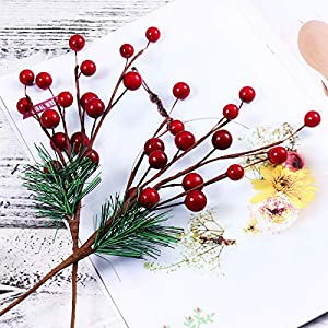 ULTNICE 10pcs Small Artificial Pine Picks Stimulation Berry Pine Needles Red Berry Flower Ornaments for Christmas Flower Arrangements Wreaths Holiday Decorations 4