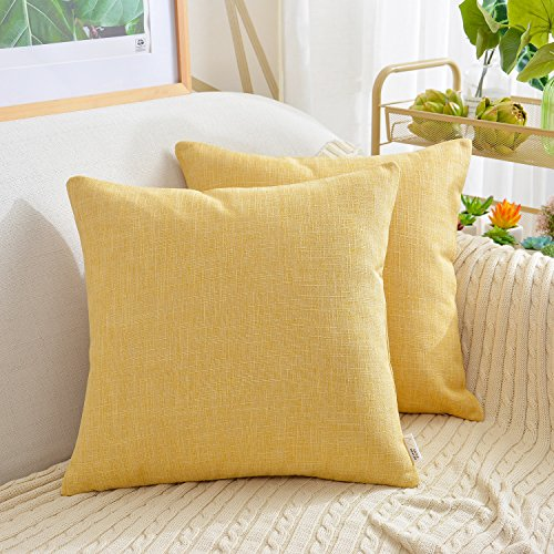 NATUS WEAVER Set of 2, Amazing Soft Linen Burlap Throw Pillow Cover Pliancy Decorative Accent Cushion Covers Square Pillowcase for Sofa Chair, 20 x 20 inch, Primrose Yellow