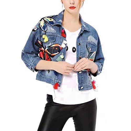 Butterfly Denim Jacket (ELINKMALL Women Denim Colorful Butterfly Long Sleeve Shorts Jackets)