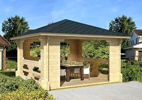 Gartenhaus IBIZA-70 - Cenador de madera (400 x 400 cm, 70 mm ...