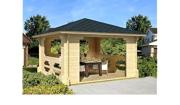 Gartenhaus IBIZA-70 - Cenador de madera (400 x 400 cm, 70 mm): Amazon.es: Jardín