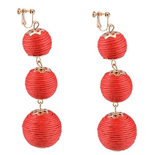 Dangle Earring Clip on Screw Back Converter Thread Ball Tassel Bohemia for Girl Kid Fashion Red