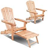 Holovachuk Patio Foldable Wood Outdoor Adirondack Chair w/Footrest Stool Garden Deck Furniture