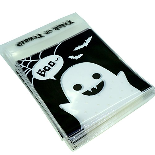 (Black Halloween Ghost Treat Bags for Candy Cookie Chocolate Gift Wrapping Packaging, Pack of 95,)