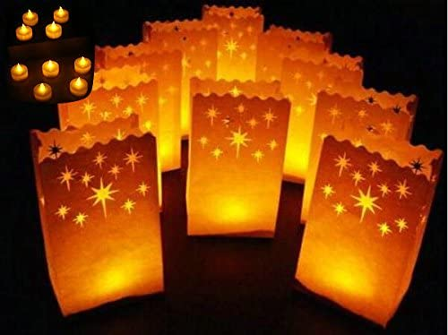 Fascola Home and Yard 24 Flameless Tea Lights Yellow Flickering LED Tealight Candles with 12 Bonus Luminary Bags
