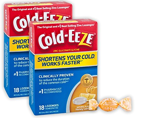 Cold-EEZE Cold Remedy Lozenges Honey Lemon 18 Count - The original and best-selling zinc lozenges Clinically Proven, Shortens Colds, Use at 1st Sign, Homeopathic, Multi-Symptom Relief, Twin Pack