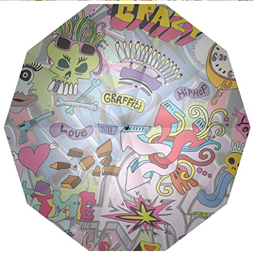 10 Ribs Travel Umbrella UV Protection Auto Open Close Art,Hip Hop Inspired Colorful Graffiti Doodle Crazy Love Time Cool Skull Street Art Windproof - Waterproof - Men - Women -Lightweight- 45 inches
