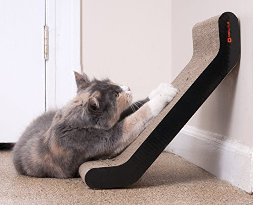 Modern cat scratcher lounge with recycled corrugated cardboard bed includes catnip wall - Modern cat scratcher ...