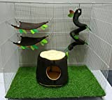 Brown Sugar Pet Store 4 piece Sugar Glider Cage Set Stump Pattern Dark Brown Color