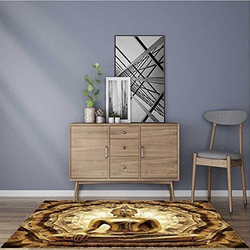 Artistic Rugs thai golden buddha on oriental gold ornament texture background Maximum Absorbent Soft 24''x40'' by L-QN