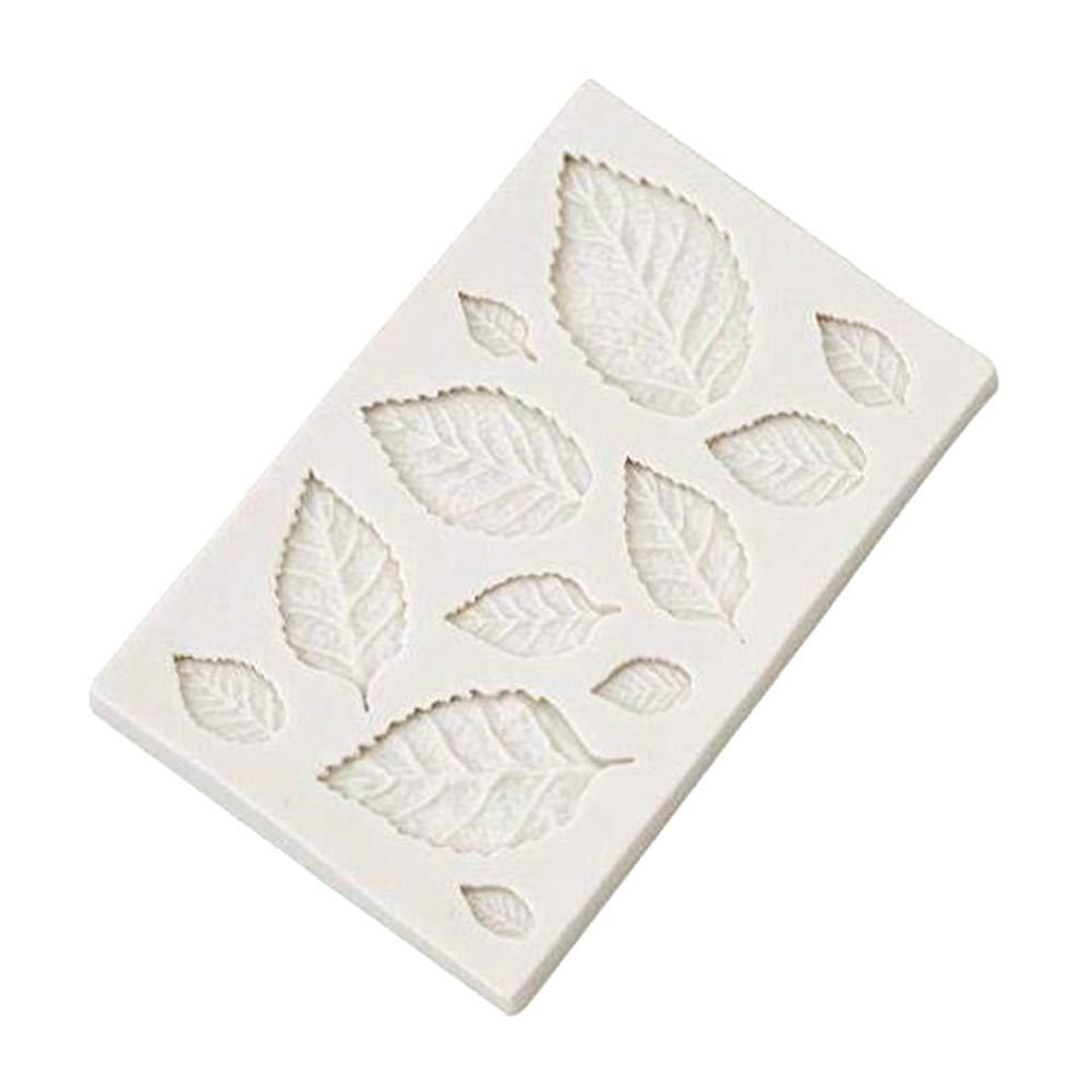 Qifumaer Moule Gateau Silicone Main Savon pour Pâte à Sucre Amande Fimo Résine Moule Biscuit Chocolat Size 4.2cm*1.65cm (Feuilles)