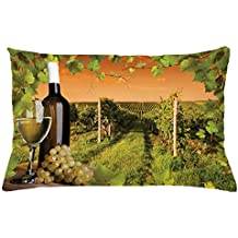 Ambesonne Winery Throw Pillow Cushion Cover, Bottle and Glass of Wine and Vineyards of Sunset Countryside Romantic Evening View, Decorative Accent Pillow Case, 26 W X 16 L Inches, Green Orange