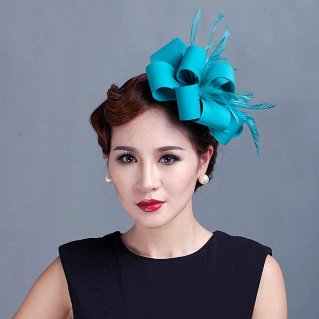 JYDIY Feather Imitation Fascinator Hat Derby Race Headwear Wedding Accessory