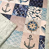 "Baby Boy Nautical Whale Ocean Patchwork Minky Blanket Infant Toddler 28""x40"""