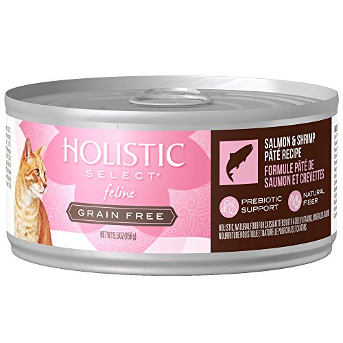 Holistic Select Natural Wet Grain Free Canned Cat Food, Salmon & Shrimp Pâté Recipe, 5.5-Ounce Can (Pack Of 24)