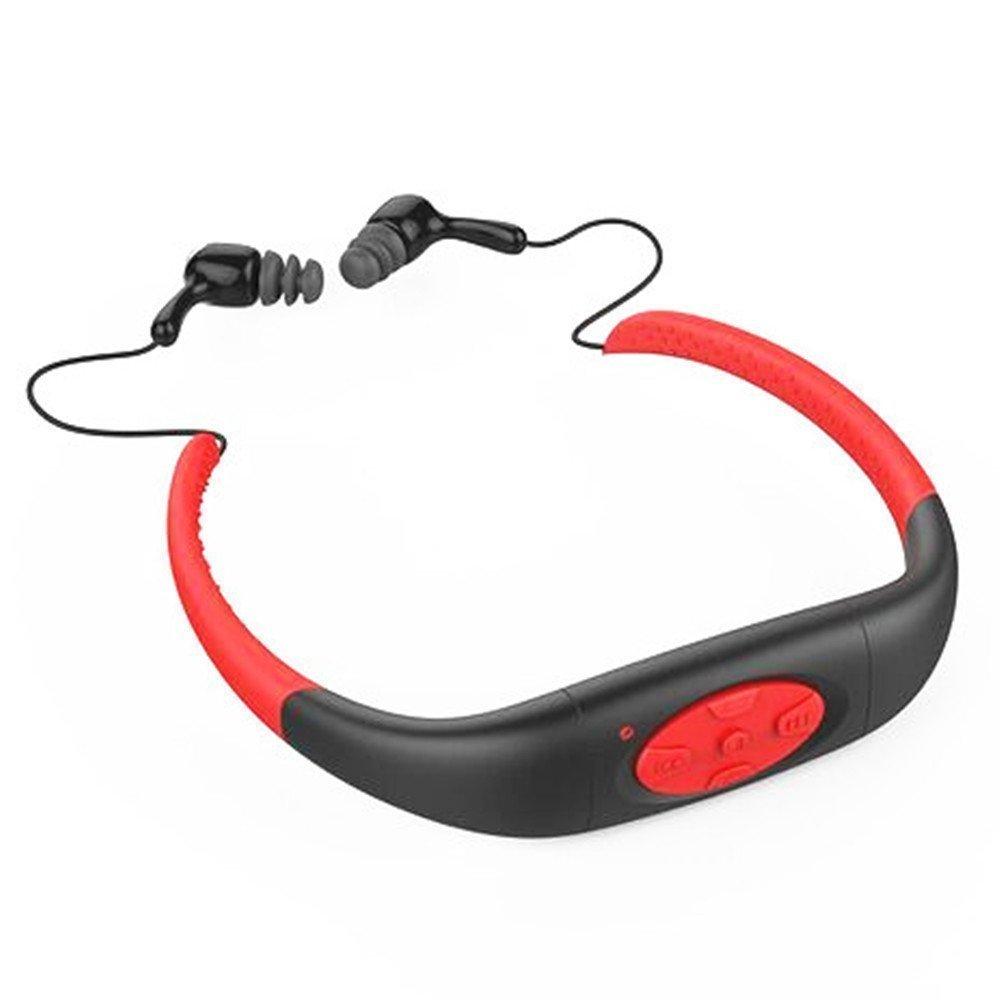 Hipipooo-4GB Memory Waterproof Sports MP3 Music Player Stereo Audio Earphone Underwater Neckband Swimming Diving With FM Radio Headset(Red) shenzhen jinwanyi company MP3-42