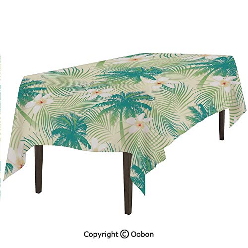 (oobon Space Decorations Tablecloth, Oceanic Island Palm Tree Leaves with Papaya Crepe Ginger Flowers Art Print Decorative, Rectangular Table Cover for Dining Room Kitchen, W60xL102 inch)