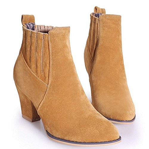 LongFengMa Women's Block High Heel Ankle High Boots Shoes Brown Vy8TJCx