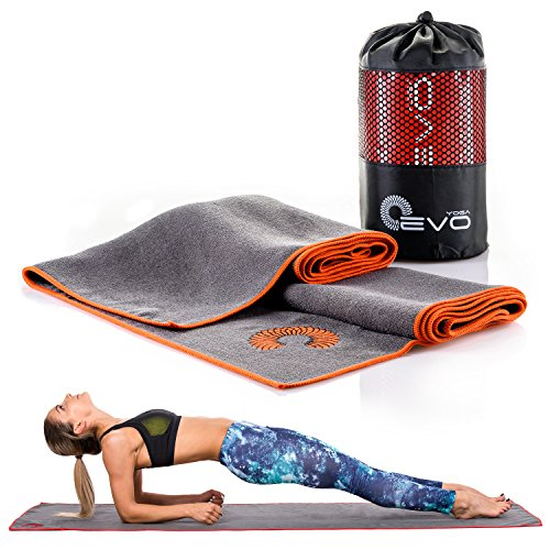 Yoga EVO Microfiber Mat Size Yoga Towel, Sweat Absorbent, Improves Your Grip and Protects Your Mat