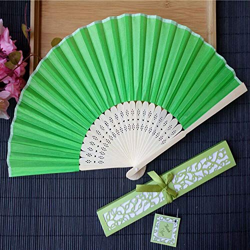 Wedding Gifts 50Pcs/Lot Personalized Luxurious Silk Fold Hand Fan in Elegant Laser-Cut Gift Box +Party Favors/Wedding Gifts+Printing - by GTIN - 1 Pcs