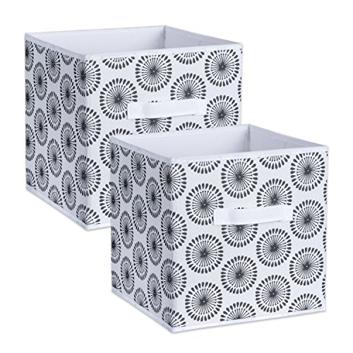 DII Foldable Fabric Storage Bins for Nursery, Offices, Home, Containers are Made to Fit Standard Cube Organizers, Small - 11 x 11 x 11, Starburst Black