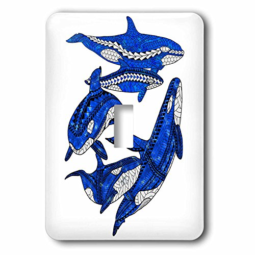 3dRose MacDonald Creative Studios – Marine Animals - A pod of tribal orca killer whales - Light Switch Covers - single toggle switch (lsp_281507_1) by 3dRose