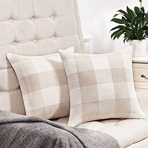 Anickal Set Of 2 Beige And White Buffalo Check Plaid Throw Pillow Covers Farmhouse Decorative Square Pillow Covers 20x20 Inches For Farmhouse Home Decor