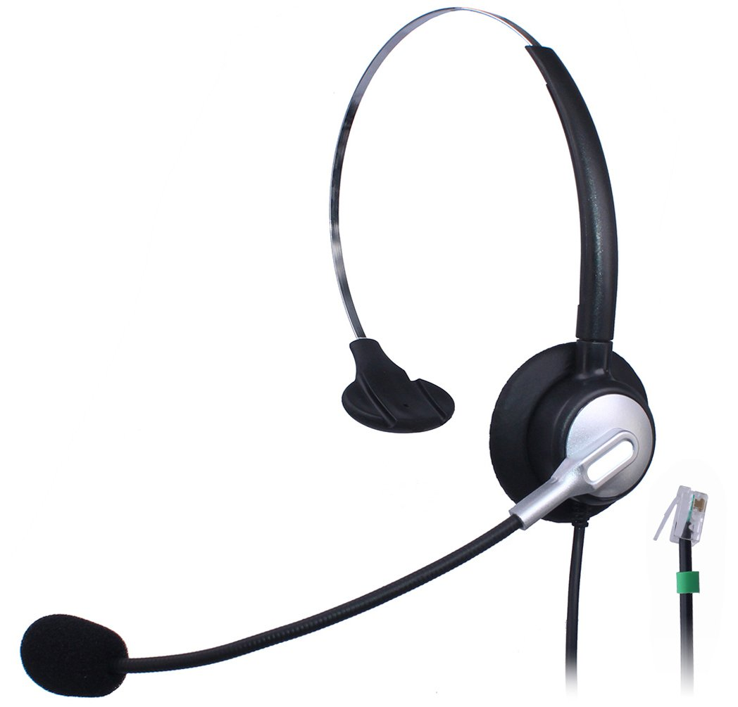 Wantek Wired Call Center Telephone Headset Headphone with Mic for NEC Aspire DT300 DSX Polycom 335 400 Avaya 1416 Aastra 6757i Mitel 5330 ShoreTel IP230 IP Phones(H110S01A)