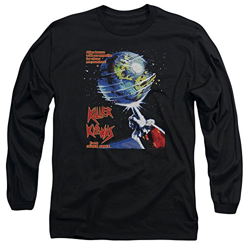 A&E Designs Killer Klowns from Outer Space Long Sleeve T-Shirt Movie Poster Black Tee, Small
