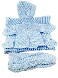 6 pc Crochet Baby Set Blanket Pants Sweater Hat Booties - Blue