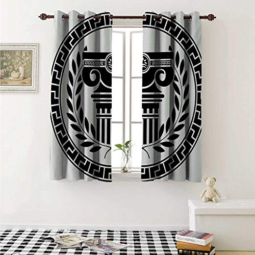shenglv Toga Party Decorative Curtains for Living Room Hellenic Column and Laurel Wreath Heraldic Symbol with Olive Branch Graphic Curtains Kids Room W72 x L72 Inch Black White ()