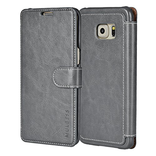 Mulbess Samsung Galaxy S6 Edge Plus Wallet Case - Leather Case PU - Ultra Slim - Credit Card Slot - Leather Flip Case for Samsung Galaxy S6 Edge+ - Gray