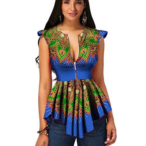 ANJUNIE Women Summer Zipper Up African Retro Printing Sleeveless Tunic T-Shirt Tops Blouse(Green,M) ()