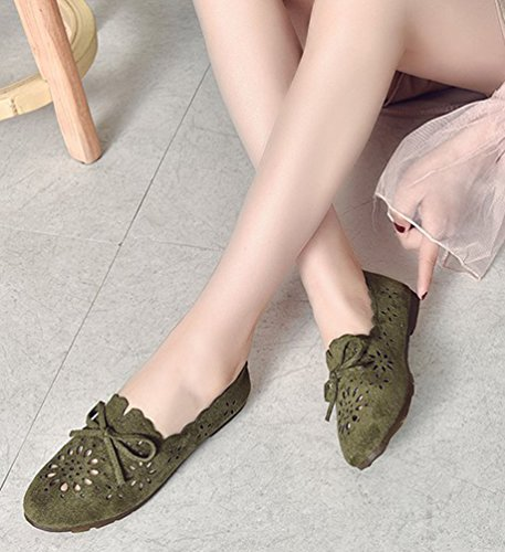 Barca Loafers Donna Slip Verde Traspirante Anguang Da 2 Mocassini On Scarpe Guida fqYUFtUAw