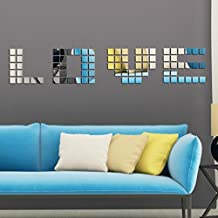 16 Pieces per Lot Reflective Mirror Mosaic Square Decorative Wall Stickers Self-adhesive Mirror Tiles Stickers (15*15cm)
