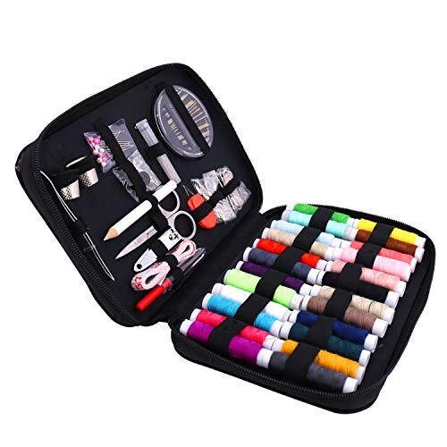 Sewing Kit,Over 90 pcs Premium Sewing Supplies for Home/Travel/DIY/Beginners/Emergency Include Scissors + Thimble + Thread + Needles + Tape Measure (Sewing kit) by imoocare