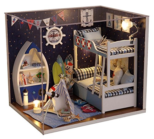 Shalleen Kits DIY Wood Dollhouse miniature with Furniture Dolls House Gift Look up to Sky