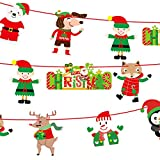 Weite Merry Christmas Banner, [3M] Colorful Wall Hangings Adujstable Xmas Ornaments Pendant Decoration for Home Garden Yard (F)