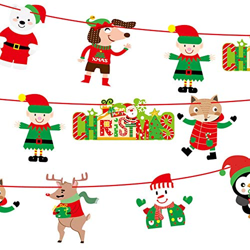 Christmas Decoration Hot Sale!!Kacowpper Christmas Paperboard Pennant Flags Banners Hanging Buntings Garland Banner -