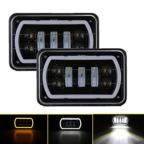 Samlight 4x6 Halo led Headlights Sealed Beam Rectangular Replacement with DRL Amber Halo Turn Signal For Chevrolet Ford Trucks Freightliner Peterbil Kenworth Dodge H4651 H4652 H4656 H4666 H6545 (Beam Replacement Sealed Headlight)