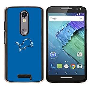 EJOOY---Cubierta de la caja de protección para la piel dura ** Motorola Moto X3 3rd Generation ** --Tigre Azul