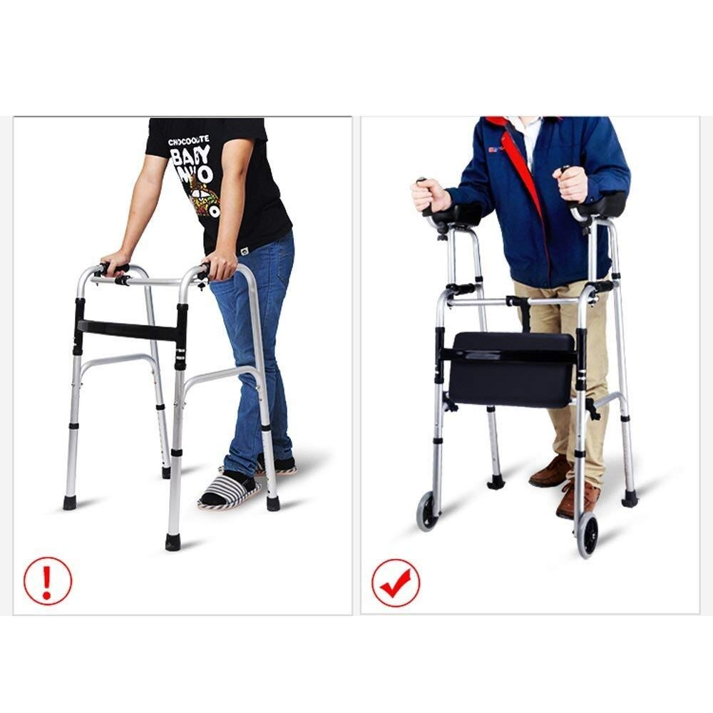 Walking Frame with Wheels Narrow, Portable Bag Lockable Brake Adjustable Height Auxiliary Walking Safety Walker (Color : with arm Drag) by YL WALKER (Image #8)