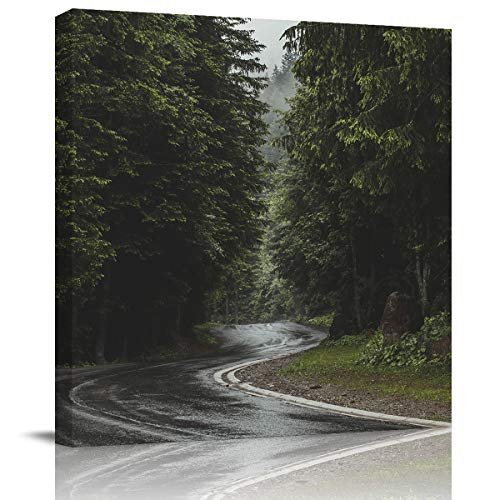Square Canvas Wall Art Oil Painting for Bedroom Living Room Home Collection,The Landscape of Forest Road Pattern Artworks for Wall Decor,Stretched by Wooden Frame,Ready to Hang,8 x 8 Inch