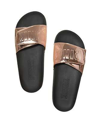 bdfe1808f1d3 Victoria s Secret PINK Crossover Comfort Slide Sandals Shoes Rose Gold M 7-8