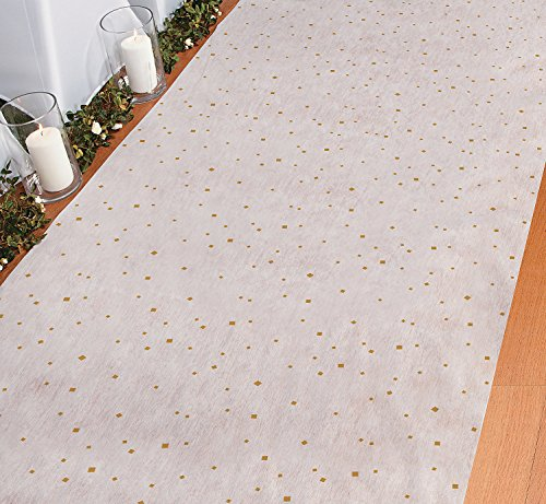 Gold & White Wedding Aisle Runner (3 ft. x 100 ft.) Speck Sparkle by Fun Express