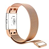 Fitbit Charge 2 Bands Small - Tecson Stainless Steel Metal Milanese Bracelet Strap Replacement Wrist band with Magnet Lock for Fitbit Charge 2 - Rose Gold